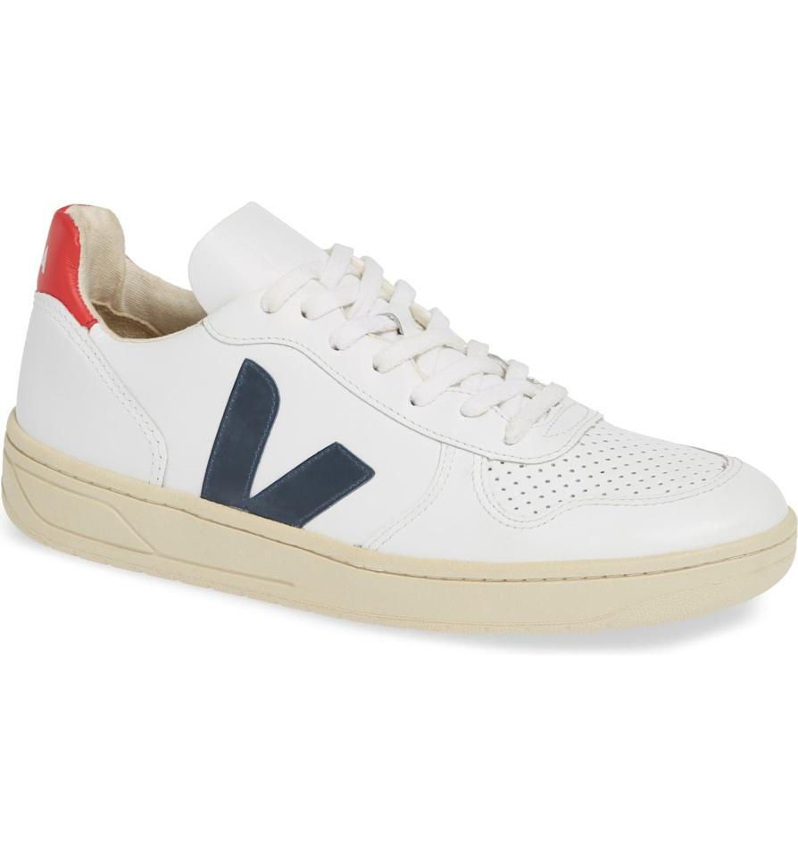 "<p>These <a href=""https://www.popsugar.com/buy/Veja-V-10-Sneakers-514910?p_name=Veja%20V-10%20Sneakers&retailer=shop.nordstrom.com&pid=514910&price=150&evar1=fab%3Aus&evar9=36097844&evar98=https%3A%2F%2Fwww.popsugar.com%2Fphoto-gallery%2F36097844%2Fimage%2F46876412%2FVeja-V-10-Sneaker&list1=shopping%2Cgifts%2Ctrends%2Choliday%2Cstreet%20style%2Cwinter%2Cgift%20guide%2Cwinter%20fashion%2Choliday%20fashion%2Cfashion%20gifts%2Cgifts%20for%20women&prop13=api&pdata=1"" rel=""nofollow"" data-shoppable-link=""1"" target=""_blank"" class=""ga-track"" data-ga-category=""Related"" data-ga-label=""https://shop.nordstrom.com/s/veja-v-10-sneaker-women/5081553/full?origin=category-personalizedsort&amp;breadcrumb=Home%2FHoliday%20Gifts%2FGifts%20for%20Her&amp;color=extra%20white%20nautico%20pekin"" data-ga-action=""In-Line Links"">Veja V-10 Sneakers</a> ($150) are Meghan Markle approved, and we'd love to find them under the tree.</p>"