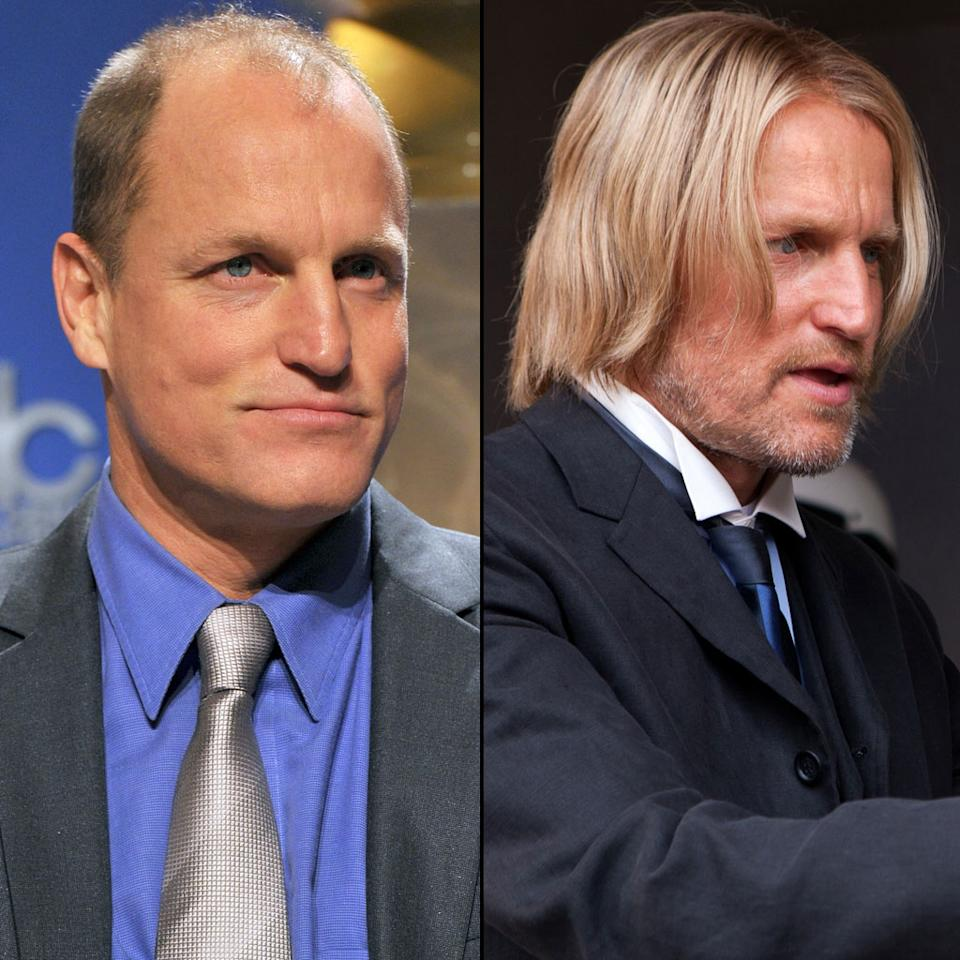 "Woody Harrelson plays Haymitch Abernathy, an often inebriated former winner of the Games who helps the new Tributes. Harrelson said that rather than make Haymitch look like a unkempt souse, he wanted the character to be ""a little bit of a bon vivant in dress."" That meant matching his parted blond wig with a refined wardrobe."