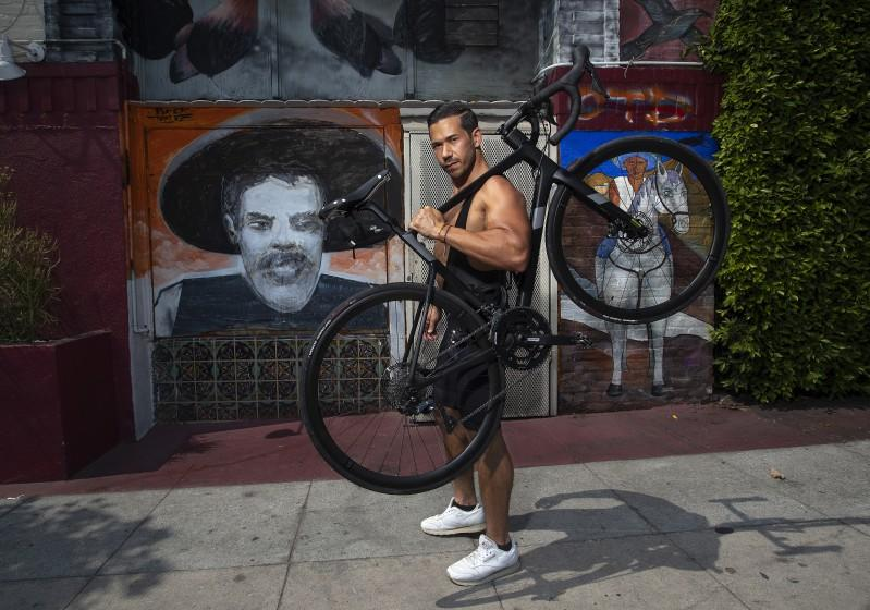 SILVER LAKE, CA -SEPTEMBER 16, 2020: Seth Gottesdiener, 33, owner of Indigo Fitness in Silver Lake.