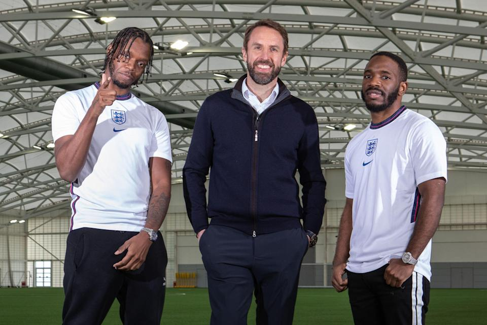 Krept and Konan with current England manager Gareth Southgate (BBC/Acme Films/Andy Hall)