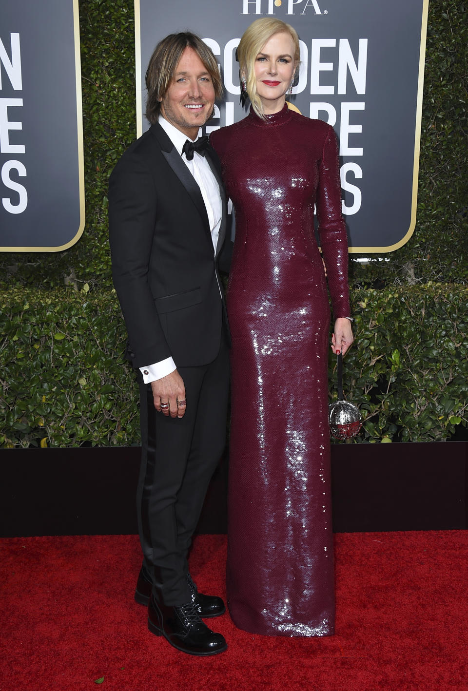 Keith Urban, left, and Nicole Kidman arrive at the 76th annual Golden Globe Awards at the Beverly Hilton Hotel on Sunday, Jan. 6, 2019, in Beverly Hills, Calif.