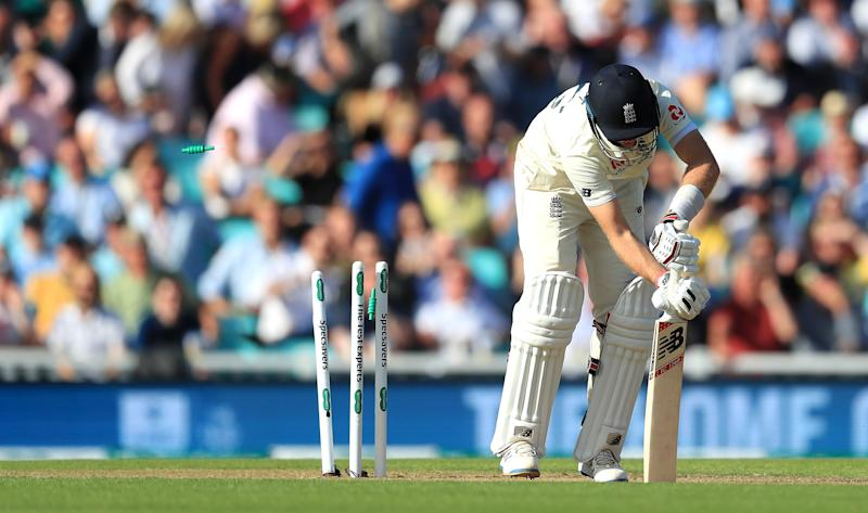 England's Joe Root is bowled out by Australia's Pat Cummins (not pictured) during day one of the fifth test match at The Oval, London. (Photo by Mike Egerton/PA Images via Getty Images)