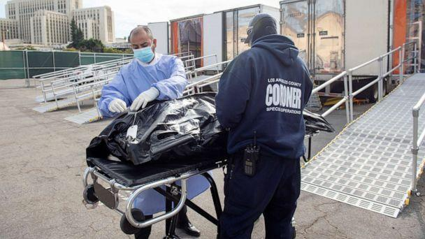PHOTO: L.A. County Medical Examiner-Coroner personnel prepare to load a container at a  temporary refrigerated storage facility for COVID-19 decedents in Los Angeles,  Jan. 27, 2021.  (County Of Los Angeles via Reuters)