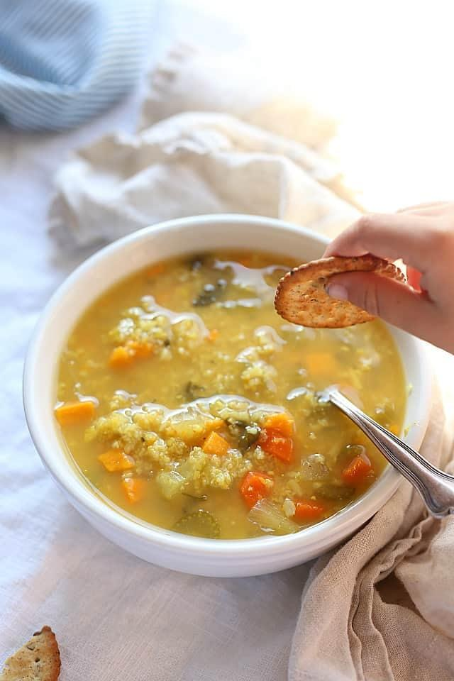 """<p>This <a href=""""https://delightfulmomfood.com/rice-soup-slow-cooker/"""" target=""""_blank"""" class=""""ga-track"""" data-ga-category=""""Related"""" data-ga-label=""""https://delightfulmomfood.com/rice-soup-slow-cooker/"""" data-ga-action=""""In-Line Links"""">Healing Slow Cooker Rice Soup With Vegetables</a> is the perfect lunch or dinner for families with a new baby keeping them busy, especially if they have an older child who needs a warm meal that isn't another grilled cheese. </p>"""