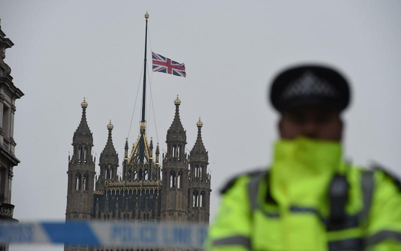 Flag at half mast in Westminster on Thursday morning - Credit: Eddie Mulholland for The Telegraph