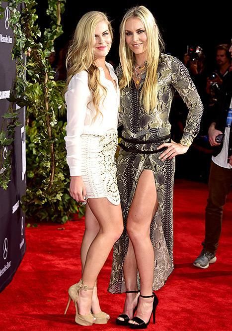 "Lindsey Vonn and Karin Kildow attend the Universal Pictures' ""Jurassic World"" premiere at Dolby Theatre on June 9, 2015 in Hollywood, California."