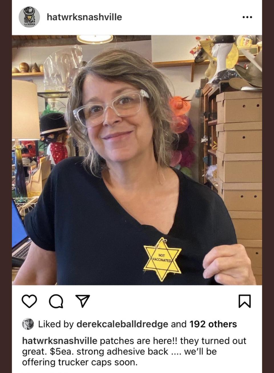 The yellow Star of David patches reading 'not vaccinated'.