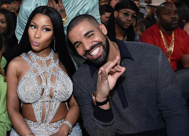 Nicki Minaj and Drake sit together at the 2017 Billboard Music Awards on May 21, 2017, in Las Vegas. (Photo: John Shearer/BBMA2017/Getty Images for dcp)