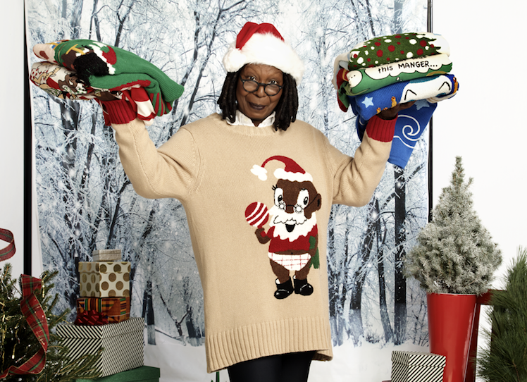 Whoopi modeling her favorite sweater.
