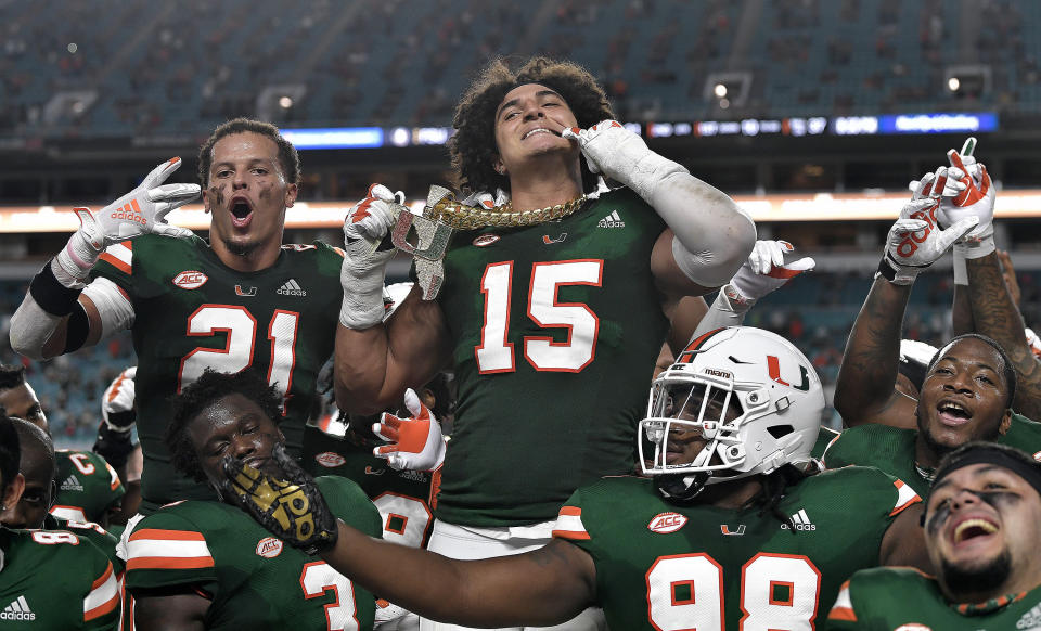 Miami lineman Jaelan Phillips displays the tunover chain after intercepting a Florida State pass during the first half of their game on Saturday, September 26, 2020. (Michael Laughlin/South Florida Sun Sentinel/Tribune News Service via Getty Images)