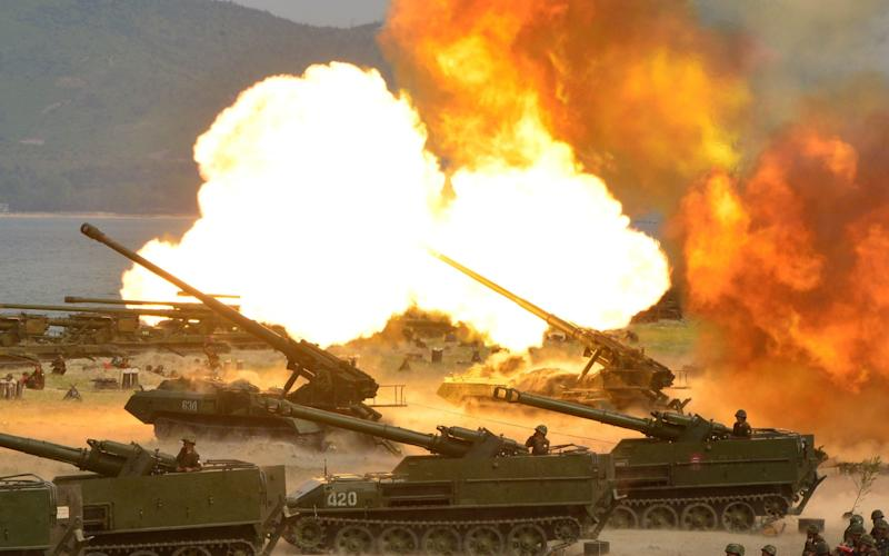 The drill was held to mark the 85th anniversary of the establishment of the Korean People's Army - Credit: Reuters