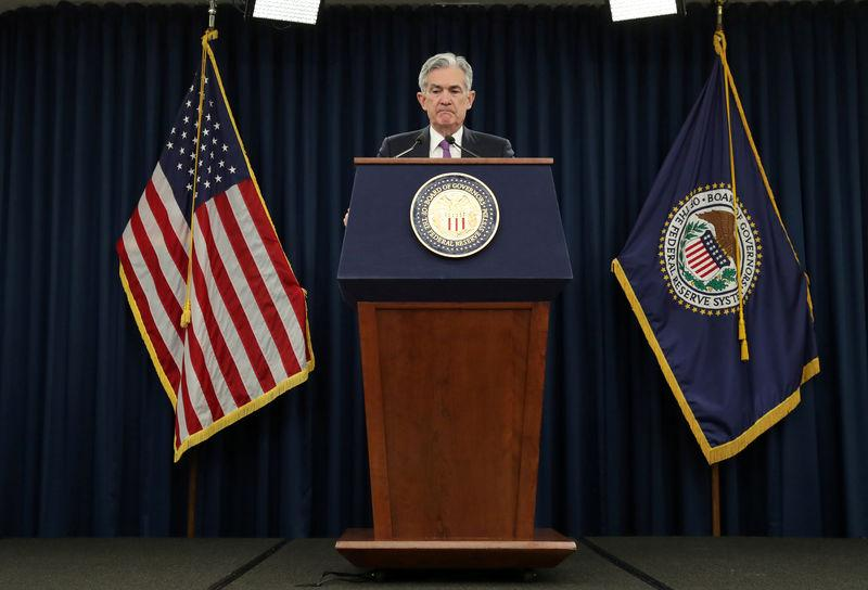 FILE PHOTO: Federal Reserve Chairman Jerome Powell holds a press conference following a two day Federal Open Market Committee policy meeting in Washington, U.S.