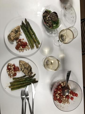 This dinner, cooked at an Airbnb in Paris, cost less than $20 per person, compared with a similar dinner that costs $90 at a trendy café. (Photo: Alexandra Mondalek)