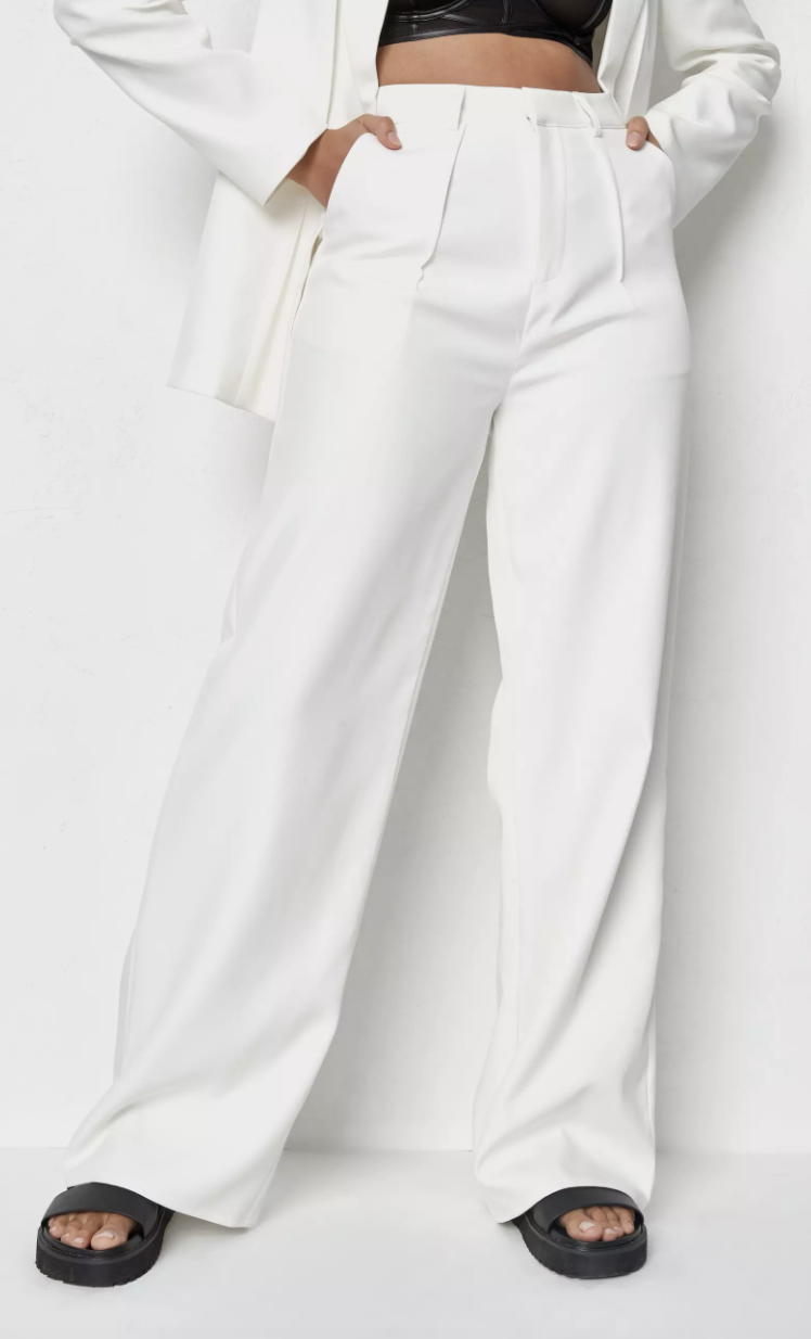 Missguided ecru co ord tailored seam masculine trousers, on sale for $39.99. Photo: Missguided.