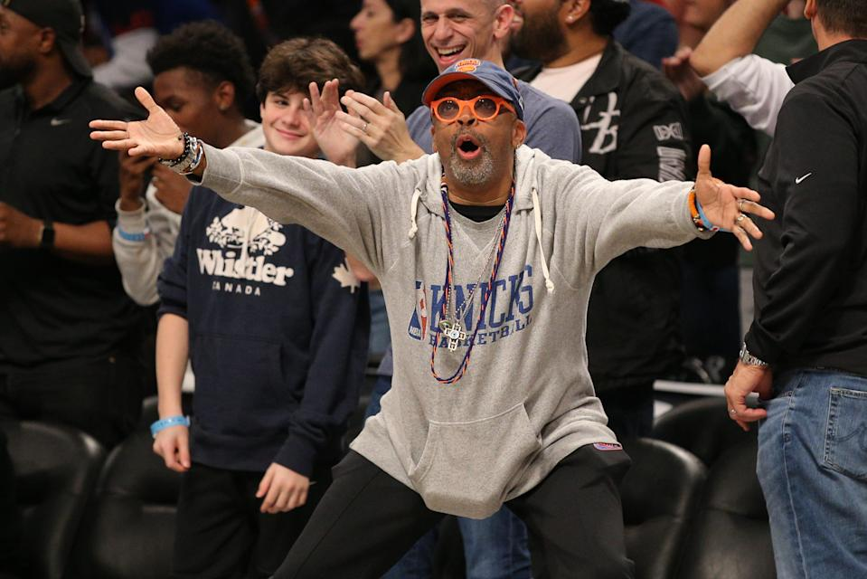 Spike Lee reacts during the fourth quarter between the Brooklyn Nets and the New York Knicks at Barclays Center. Mandatory Credit: Brad Penner-USA TODAY Sports