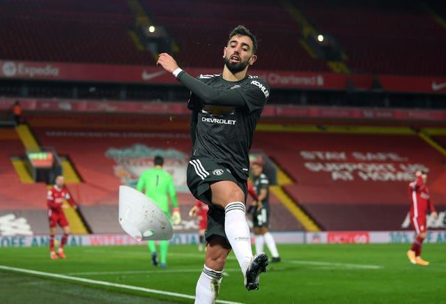 Bruno Fernandes cut a frustrated figure at Anfield