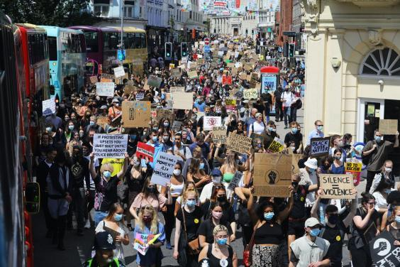 An estimated 5,000 people attended the protest (PA)