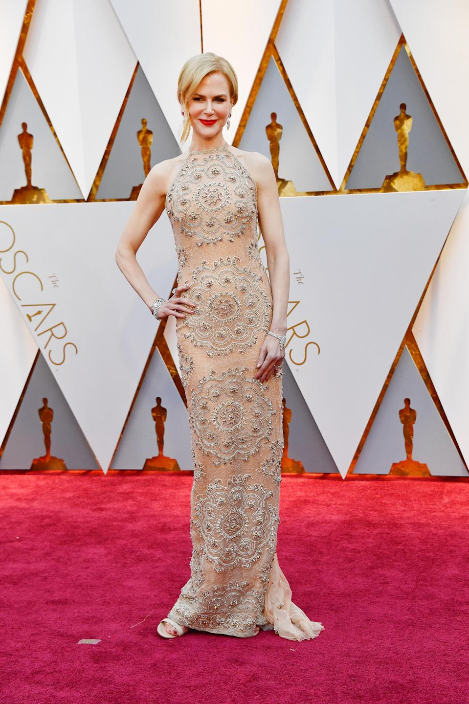 Nicole Kidman Stuns in Glamorous Nude Gown While Out to