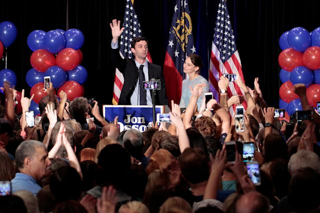 <p>Democrat Jon Ossoff is joined by his finance, Alisha Kramer, as he addresses his supporters after his defeat in Georgia's 6th Congressional District special election in Atlanta, Ga., June 20, 2017. (Photo: Chris Aluka Berry/Reuters) </p>