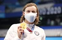 <p>TOKYO, JAPAN - JULY 28: Katie Ledecky of United States poses with her gold medal after winning the Women's 1500m Freestyle final on day five of the Tokyo 2020 Olympic Games at Tokyo Aquatics Centre on July 28, 2021 in Tokyo, Japan. (Photo by Ian MacNicol/Getty Images)</p>