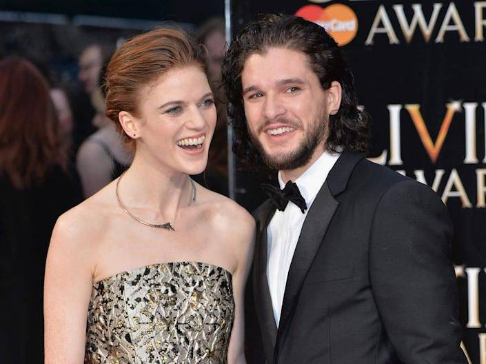 Kit Harington and Rose Leslie red carpet Olivier Awards 2016 Game of Thrones Getty