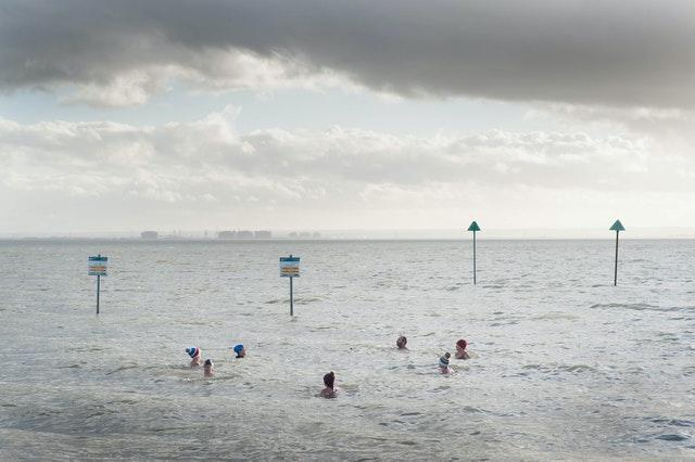 Swimmers at Chalkwell in the Thames estuary