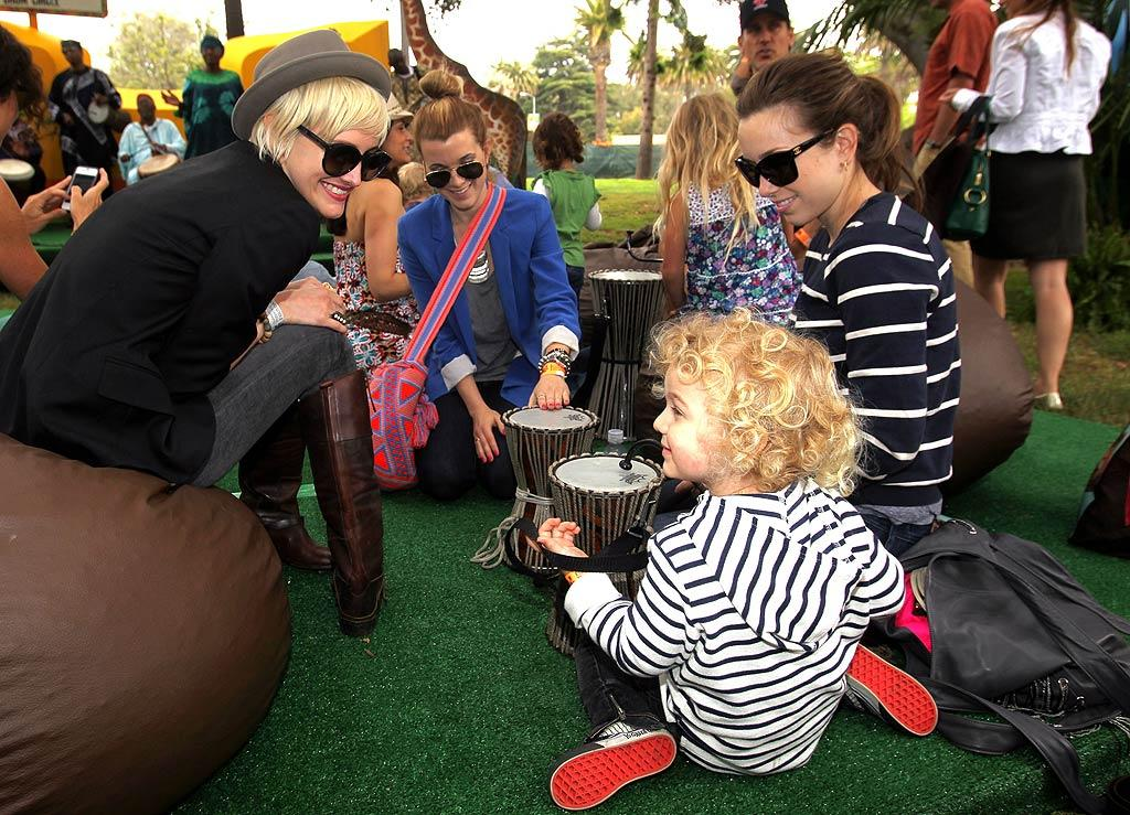 """Ashlee Simpson took part in the Harambe Drum Circle, where she shared some tips with an up-and-coming musician, her 2 1/2-year-old son, Bronx. Chris Weeks/<a href=""""http://www.gettyimages.com/"""" target=""""new"""">GettyImages.com</a> for EGPAF - June 12, 2011"""