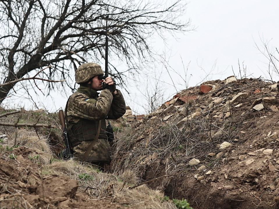 A Ukrainian soldier is seen at fighting positions on the line of separation from pro-Russian rebels near Donetsk, Ukraine, on Monday (AP)