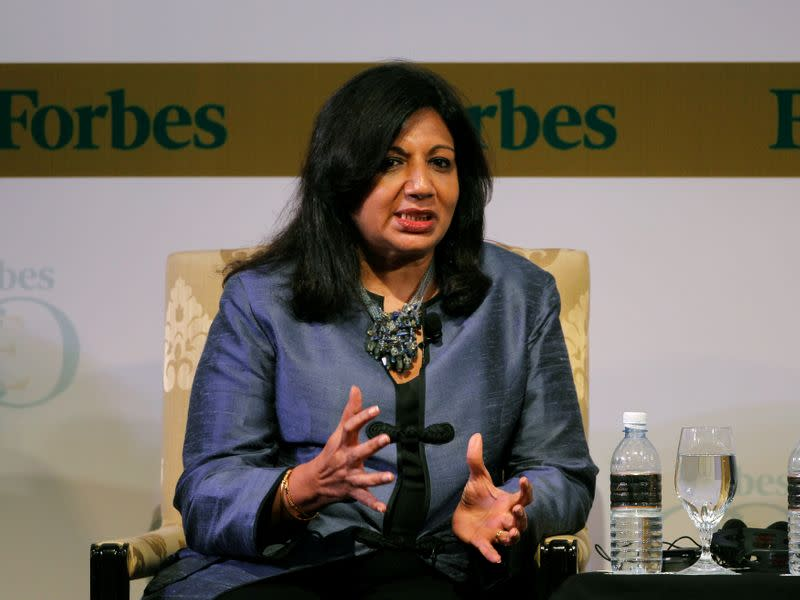 FILE PHOTO: India's Biocon Ltd Chairman and Managing Director Kiran Mazumdar-Shaw speaks during the Forbes Global CEO Conference in Kuala Lumpur