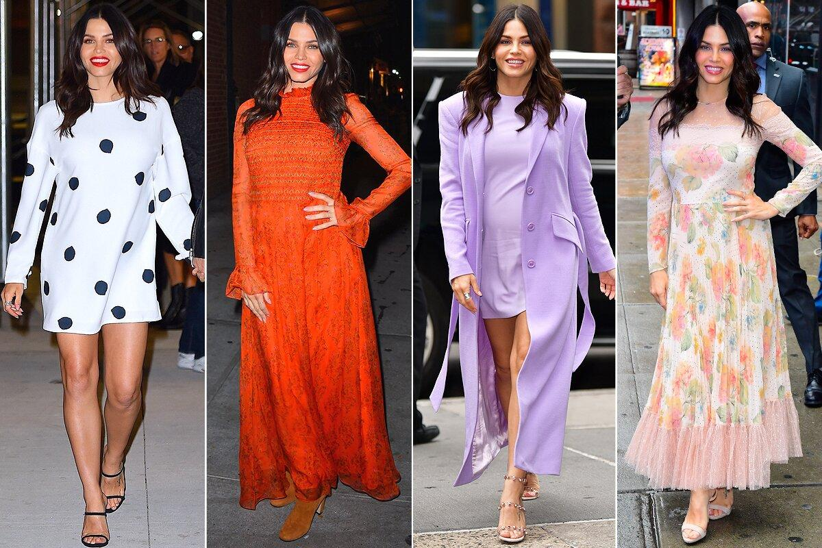 """The actress (<a href=""""https://people.com/parents/jenna-dewan-pregnant-excited-baby-daughter-everly-reaction-exclusive/"""">who is expecting her second child)</a> hit the N.Y.C. streets in pretty party-ready dresses <a href=""""https://people.com/movies/jenna-dewan-says-she-and-channing-tatum-split-when-the-dynamic-had-moved-into-hurting/"""">to promote her new book</a>, including (from left), a polka-dot swing dress with Giuseppe Zanotti heels, a tomato-red smocked maxi, a lilac look by Alice + Olivia with Marco Bicego earrings and a floral REDValentino gown."""