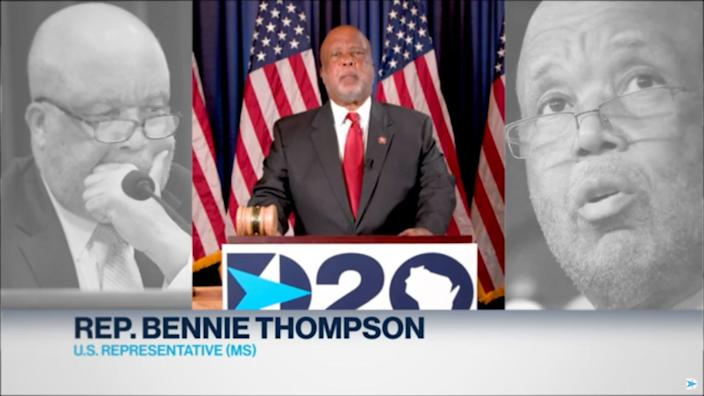 Bennie Thompson, Permanent Chair of the 2020 Democratic National Convention and congressman from Mississippi, remotely gives the Call to Order during the Democratic National Convention at the Wisconsin Center.