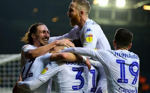 Leeds celebrate a goal against Blackburn - Credit: getty images