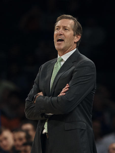 New York Knicks' head coach Jeff Hornacek during the first half of a preseason NBA basketball game against Houston Rockets at Madison Square Garden in New York, Monday, Oct. 9, 2017. (AP Photo/Andres Kudacki)