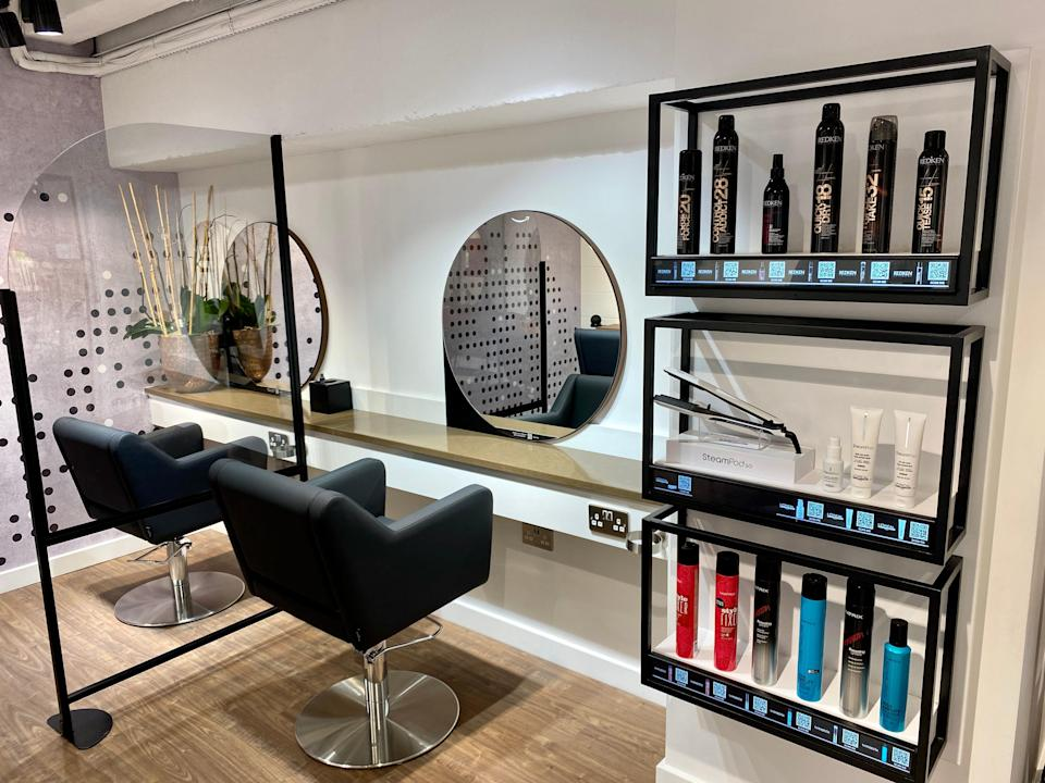 Hair products and seats in Amazon Salon