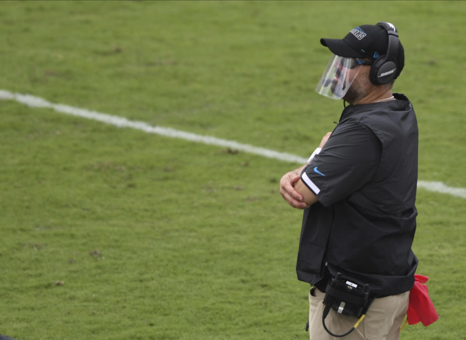 Carolina Panthers head coach Matt Rhule during the second half of an NFL football game against the Tampa Bay Buccaneers Sunday, Sept. 20, 2020, in Tampa, Fla. (AP Photo/Jason Behnken)