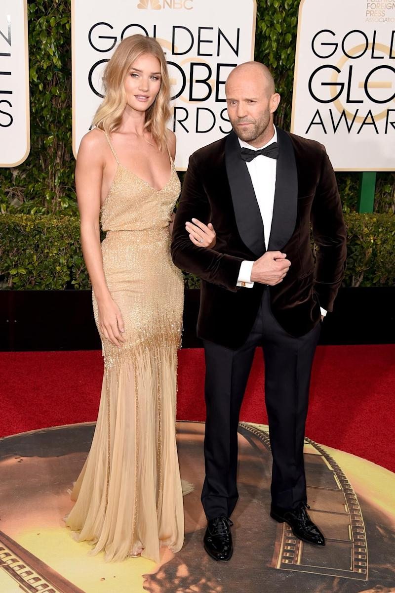Happy couple: Rosie Huntington-Whiteley and Jason Statham at the 2016 Golden Globes (Jason Merritt/Getty )