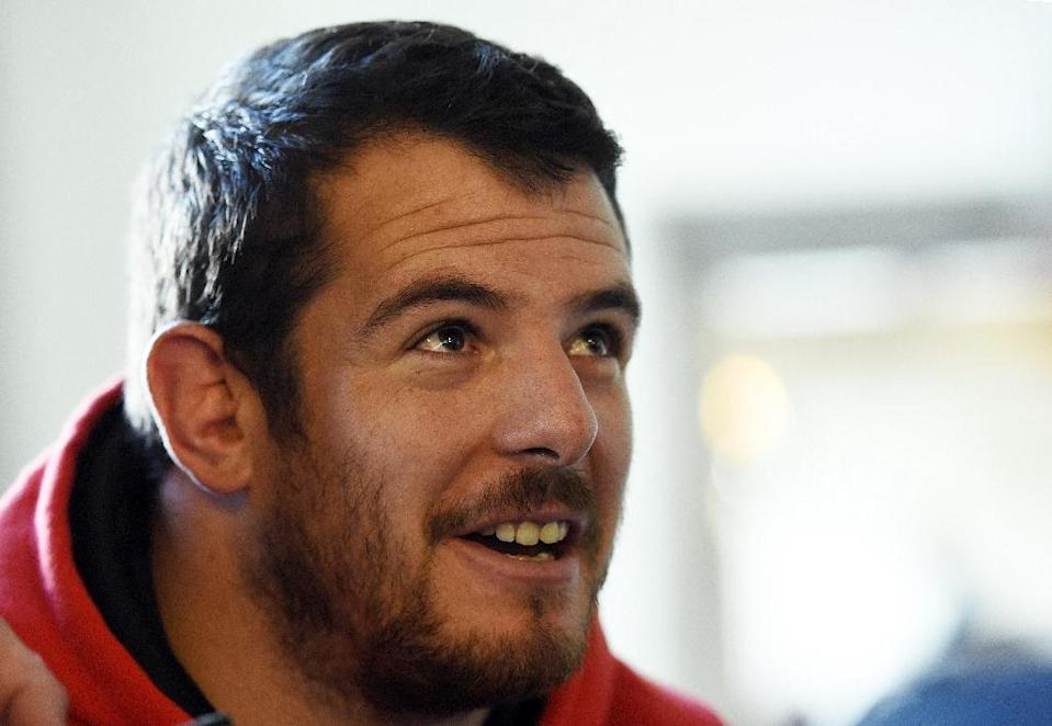 Wales' prop Aaron Jarvis speaks to the press in Hensol, south Wales, on September 15, 2015, ahead of the 2015 Rugby Union World Cup which begins on September 18 (AFP Photo/Loic Venance)