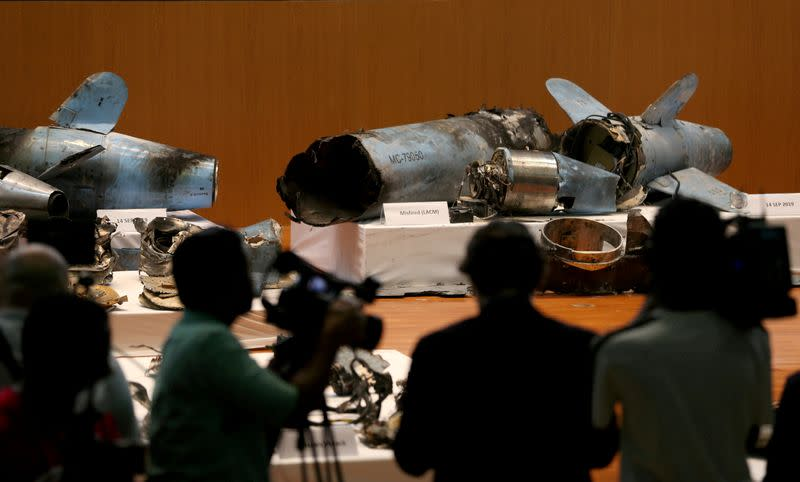 FILE PHOTO: Remains of the missiles which Saudi government says were used to attack an Aramco oil facility, are displayed during a news conference in Riyadh