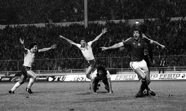 Mariner, on his knees, after scoring the goal against Hungary that took England to the 1982 World Cup