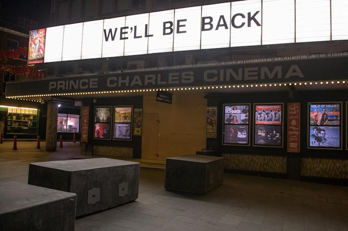 The Prince Charles Cinema in Leicester Square in central London closed till further notice on March 24, 2020. (Photo by Ollie Millington/Getty Images)