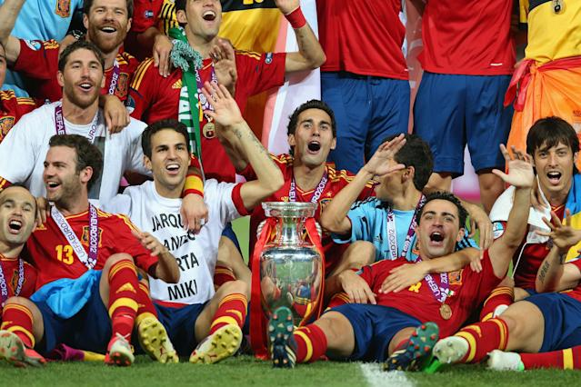 KIEV, UKRAINE - JULY 01: Spain celebrate their victory after the UEFA EURO 2012 final match between Spain and Italy at the Olympic Stadium on July 1, 2012 in Kiev, Ukraine. (Photo by Handout/UEFA via Getty Images)