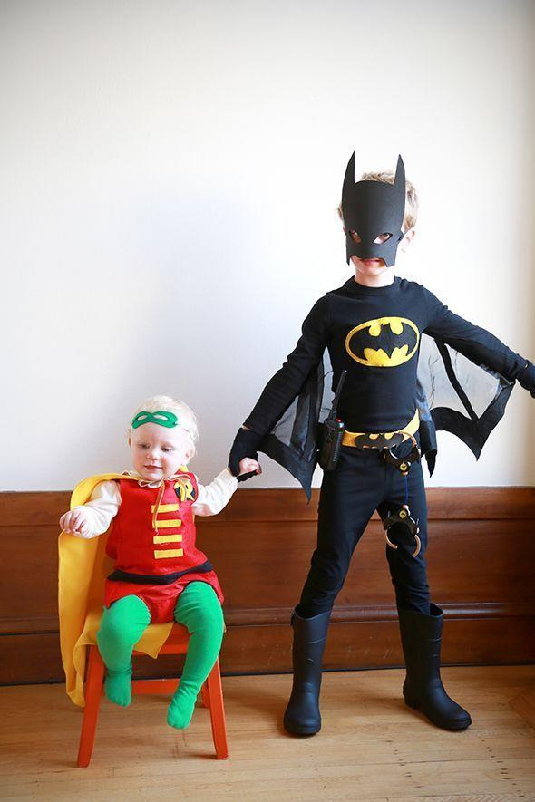 """<p>Siblings? No. It's the dynamic duo! </p><p><em><a href=""""https://sayyes.com/2014/10/batman-and-robin-costumes"""" rel=""""nofollow noopener"""" target=""""_blank"""" data-ylk=""""slk:Get the tutorial at Say Yes »"""" class=""""link rapid-noclick-resp"""">Get the tutorial at Say Yes »</a></em></p>"""