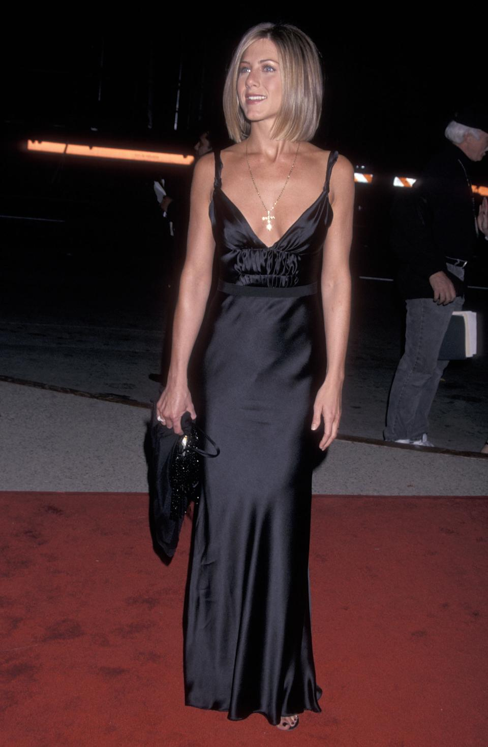 Although she's known for her long, honey-blonde hair, one of Aniston's best style moments came when she showed off her newly shorn locks in a black satin gown at the 27th People's Choice Awards. (photo by Ron Galella, Ltd./Wireimage)