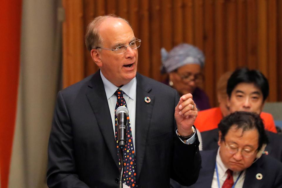Larry Fink, Chief Executive Officer of BlackRock, speaks at the Secretary General's High-Level meeting on Financing during 73rd United Nations General Assembly in New York, U.S., September 24, 2018. REUTERS/Caitlin Ochs
