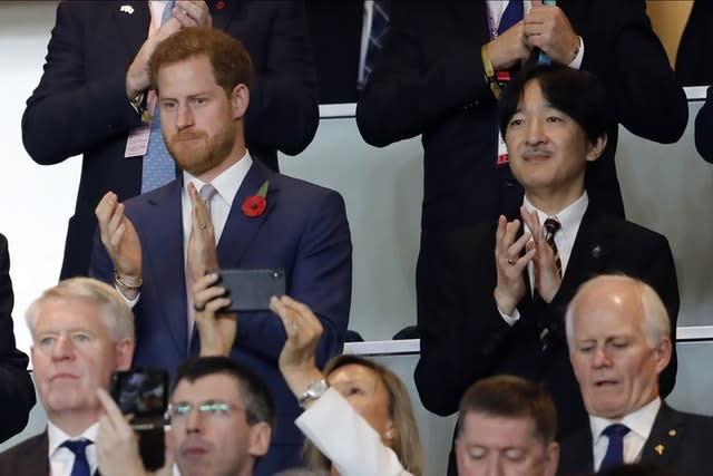 The Duke of Sussex watched the game alongside Japan's Crown Prince Akishino (Christophe Ena/AP)