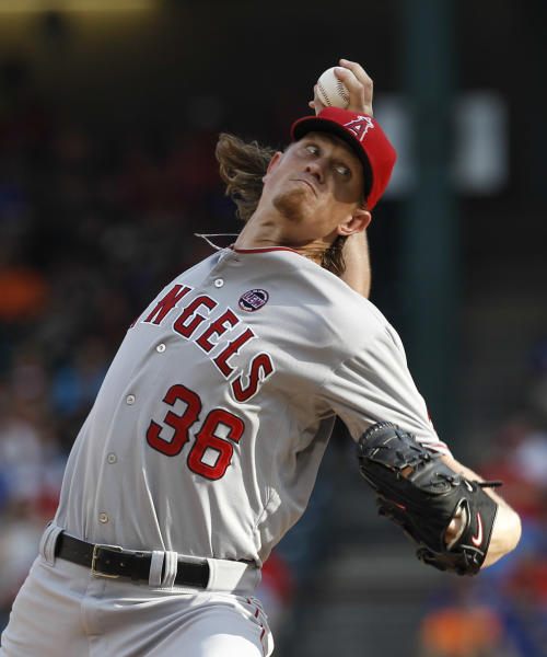 Los Angeles Angels starting pitcher Jered Weaver (36) throws to the Texas Rangers during the first inning of a baseball game, Monday, July 29, 2013, in Arlington, Texas. (AP Photo/Jim Cowsert)