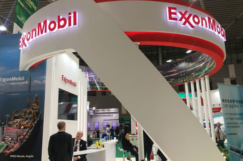 FILE PHOTO: Booth of U.S. major ExxonMobil is seen at the China (Dongying) International Petrochemical Trade Exhibition in Dongying