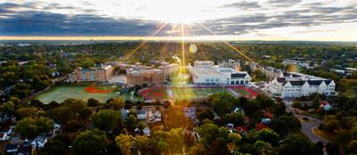 An aerial image of campus with sunlight pouring from the top of the frame. Taken September 23, 2012.