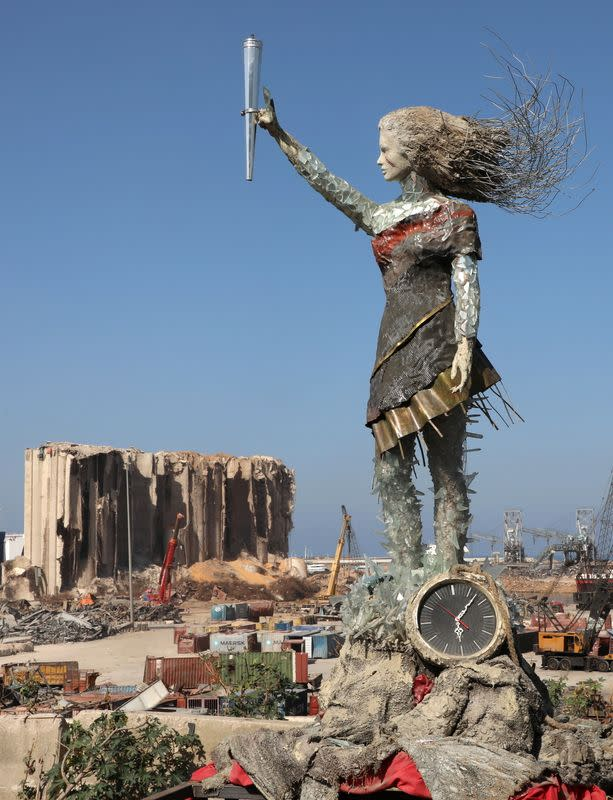 A view shows a statue by Lebanese artist, Hayat Nazer, which is made entirely out of broken glass and debris of the August 4 port explosion, near the port of Beirut