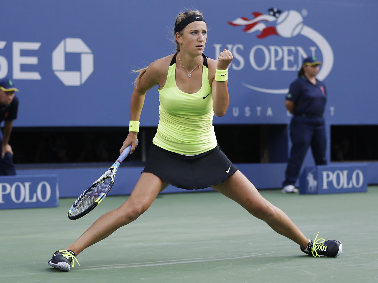 Victoria Azarenka, of Belarus, reacts while playing against Serena Williams during the championship match at the 2012 US Open tennis tournament, Sunday, Sept. 9, 2012, in New York. (AP Photo/Darron Cummings)